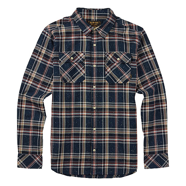 Burton Brighton Long Sleeve Mens Flannel, Eclipse Fleck Plaid, 600