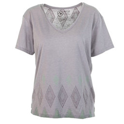 Burton Geo V-Neck Womens T-Shirt, Cloud Heather, 256
