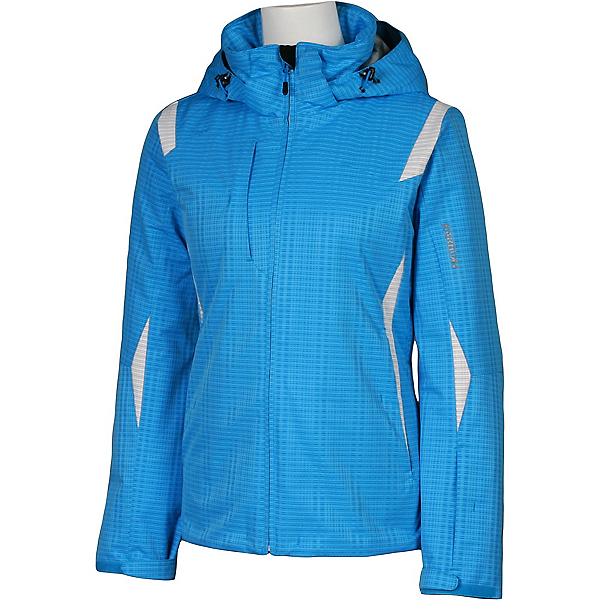 Karbon Amber Womens Insulated Ski Jacket, Blue Print-Arctic White, 600