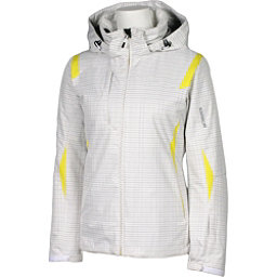 Karbon Amber Womens Insulated Ski Jacket, White Print-Yellow, 256
