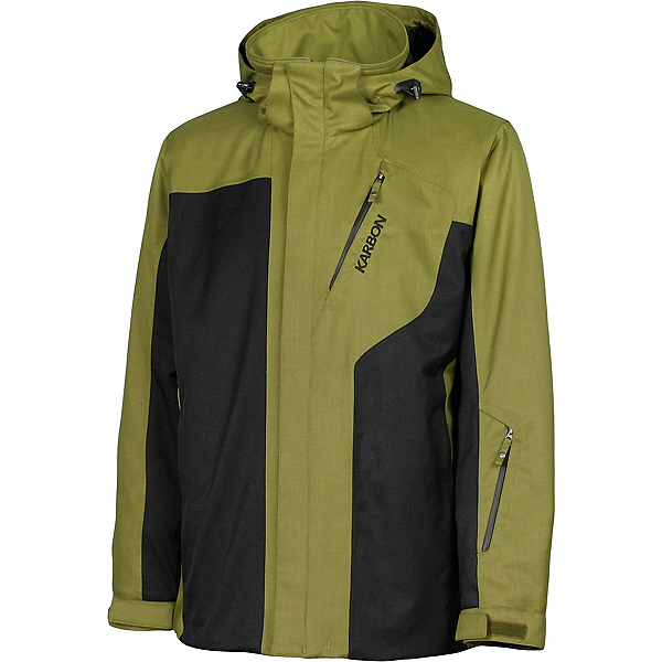 Karbon Granite Mens Insulated Ski Jacket, Moss-Black-Black, 600