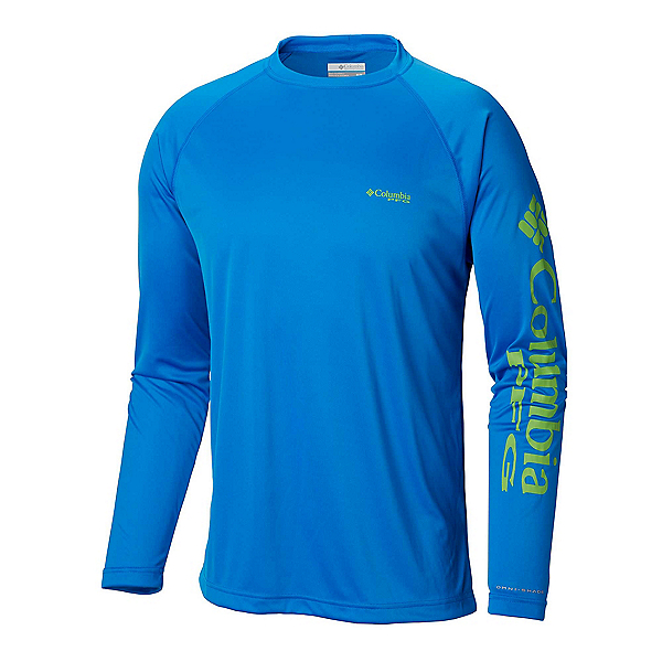 Columbia PFG Terminal Tackle Long Sleeve Mens Shirt, Hyper Blue-Green Mamba, 600