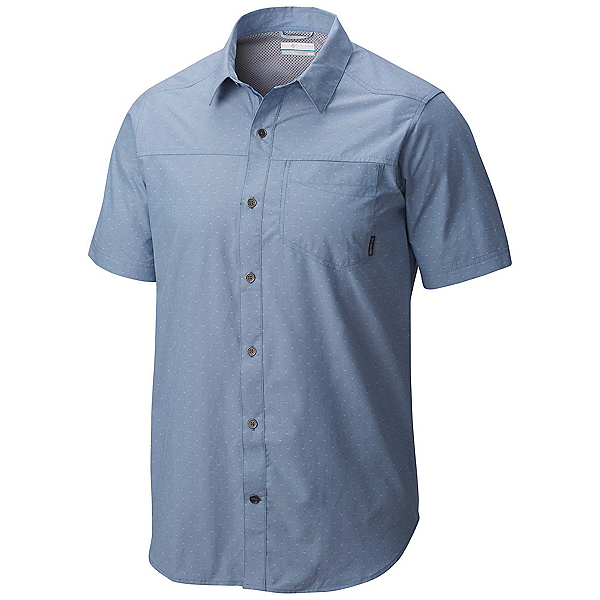 Columbia Pilsner Peak Short Sleeve Mens Shirt, Steel Dobby, 600