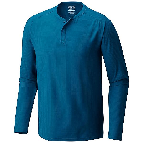 Mountain Hardwear MHW AC Long Sleeve Henley Mens Shirt, Phoenix Blue, 600