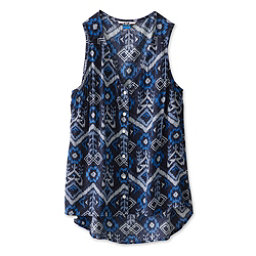 KAVU Beryl Womens Shirt, Blue Ikat, 256