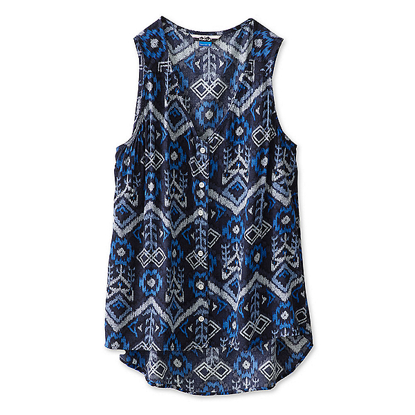 KAVU Beryl Womens Shirt, Blue Ikat, 600