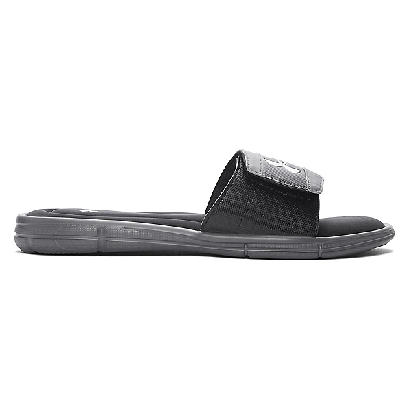 Under Armour Ignite V Slide Mens Flip Flops, Graphite-Black-Metallic Silver, 600