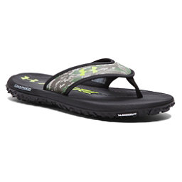 Under Armour Fat Tire Mens Flip Flops, Black-White-Velocity, 256