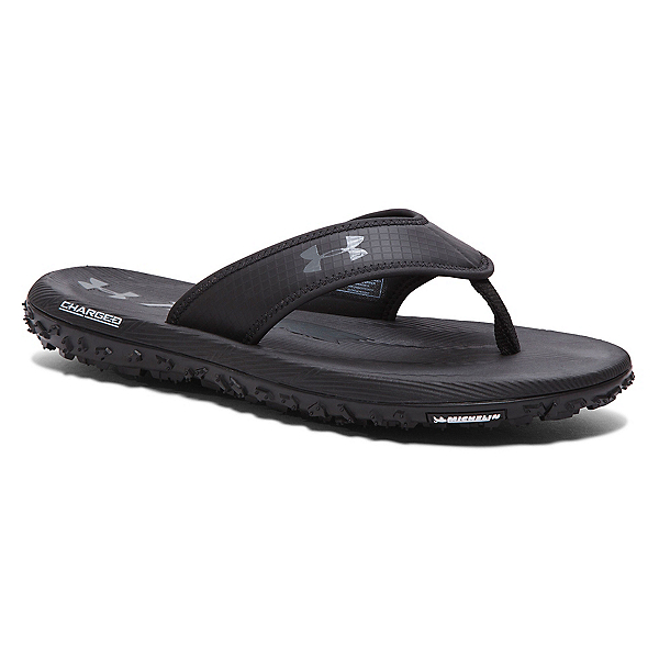 Under Armour Fat Tire Mens Flip Flops, Black-Graphite, 600