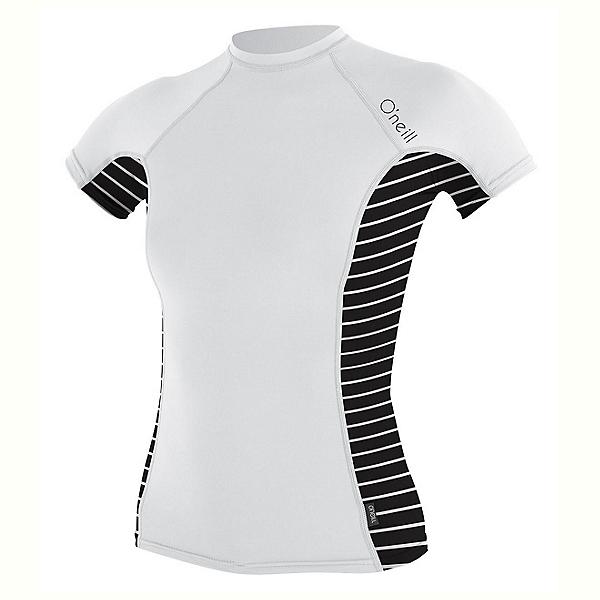 O'Neill Side Print Short Sleeve Crew Womens Rash Guard, White-Coastal-Black, 600