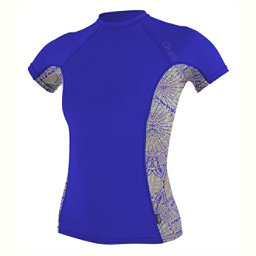 O'Neill Side Print Short Sleeve Crew Womens Rash Guard, Tahitian Blue-Batika-Tahitian, 256