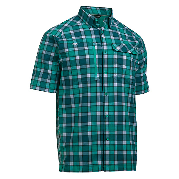 Under Armour Fish Hunter Short Sleeve Plaid Mens Shirt, Absinthe Green-Turquoise Sky, 600