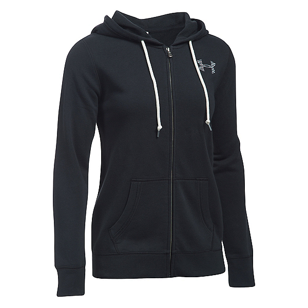 Under Armour Favorite Fleece Full Zip Womens Hoodie, Black-White-White, 600