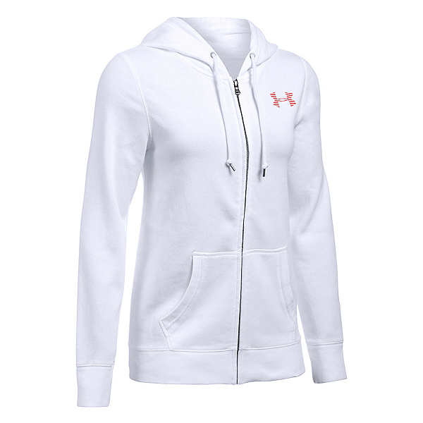 Under Armour Favorite Fleece Full Zip Womens Hoodie, White-Pomegranate-Pomegranate, 600