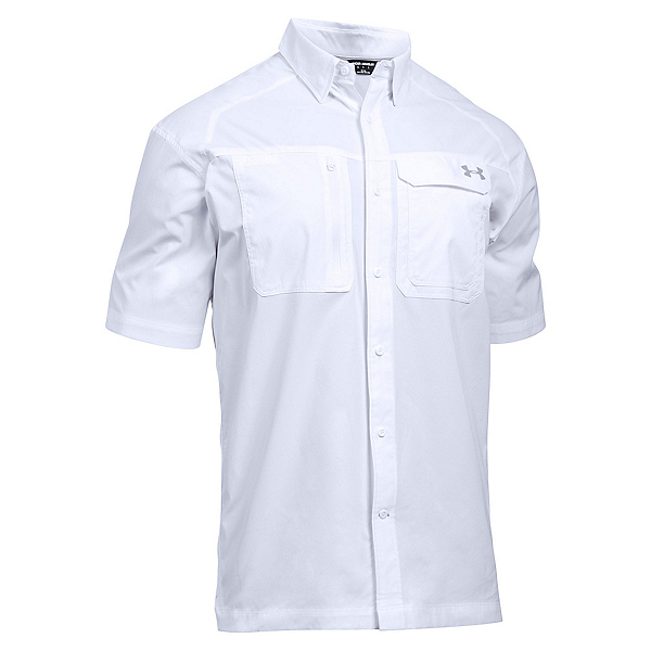 Under Armour Fish Hunter Short Sleeve Solid Mens Shirt, White-Steel, 600