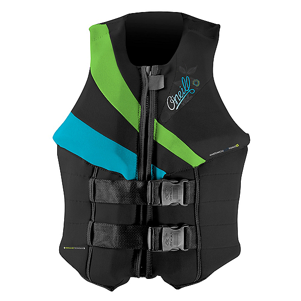 O'Neill Siren LS Womens Life Vest 2020, Black-Dayglo-Turquoise, 600
