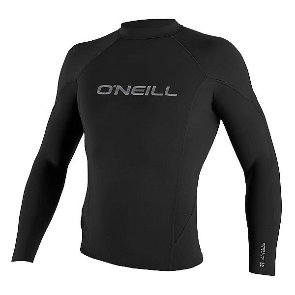 O'Neill Hammer 1.5mm Long Sleeve Crew Wetsuit Top 2017, Black-Black-Black, 600