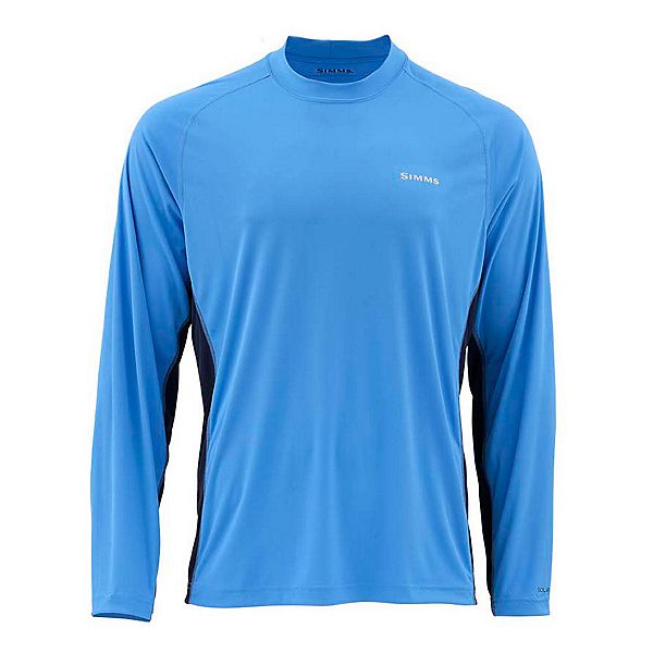 Simms SolarFlex Long Sleeve Solid Crew Mens Shirt, Harbor Blue, 600