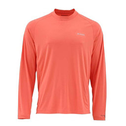 Simms SolarFlex Long Sleeve Solid Crew Mens Shirt, Dark Coral, 256