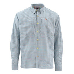 Simms Bugstopper Long Sleeve Plaid Mens Shirt, Oxford Blue Plaid, 256