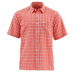 Simms Morada Short Sleeve Mens Shirt, Dark Coral Plaid, 256
