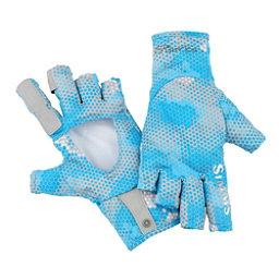 Simms SolarFlex SunGlove Paddling Gloves 2017, Hex Camo Capri, 256
