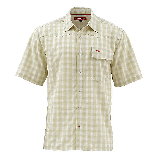 Simms Big Sky Short Sleeve Mens Shirt, Sage Plaid, 600