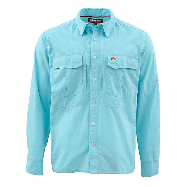 Simms Deceiver Long Sleeve Mens Shirt, Turquoise, 600