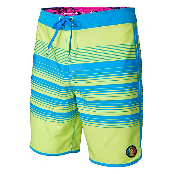 O'Neill Hyperfreak Generator Scallop Mens Board Shorts, Neon Yellow, 600