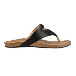 OluKai Lala Womens Flip Flops, Black-Tan, 256