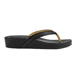 OluKai Ola Womens Flip Flops, Black-Black, 256