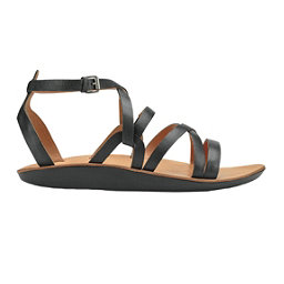 OluKai Po'iu Womens Sandals, Black-Black, 256