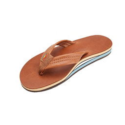 Rainbow Sandals Double Layer Classic Leather Mens Flip Flops, Tan, 256
