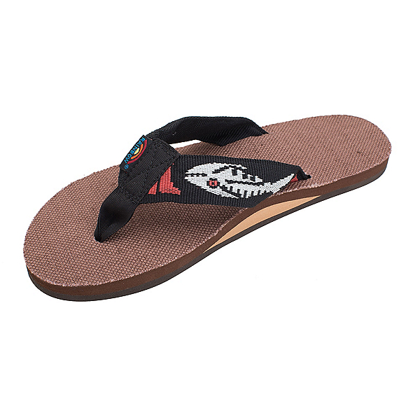 Rainbow Sandals Single Layer Hemp Fish Strap Mens Flip Flops, Brown-Silver, 600