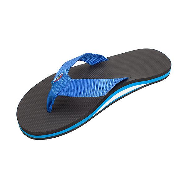 Rainbow Sandals Classic Rubber Mens Flip Flops, Black-Blue, 600