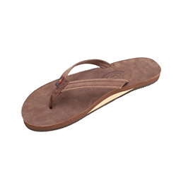 Rainbow Sandals Premier Leather Narrow Strap Womens Flip Flops, Expresso, 256