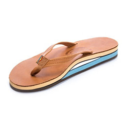 Rainbow Sandals Double Layer Classic Leather Womens Flip Flops, Tan-Blue, 256