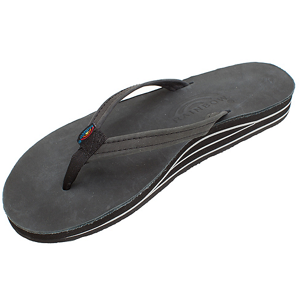 Rainbow Sandals Double Layer Classic Leather Womens Flip Flops, Black, 600