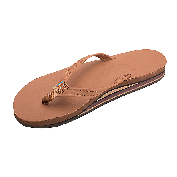 Rainbow Sandals Double Layer Classic Leather Womens Flip Flops 2020, Sierra Brown, 600