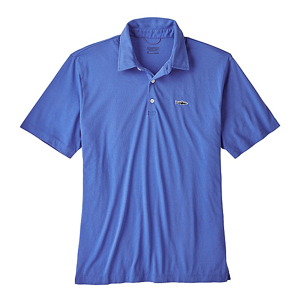 Patagonia Trout Fitz Roy Polo Mens Shirt, Imperial Blue, 600