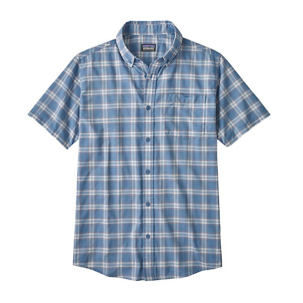 Patagonia Lightweight Bluffside Mens Shirt, Ascent Plaid Small-Railroad Bl, 600