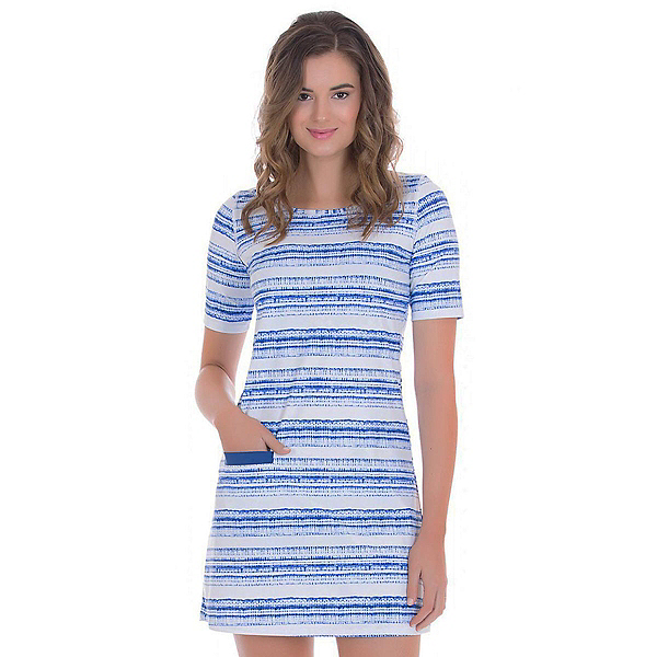 Cabana Life Navy Batik Stripe Dress, , 600