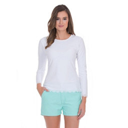 Cabana Life Scallop Womens Rash Guard, White, 256