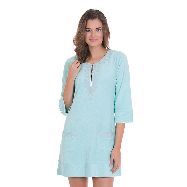 Cabana Life Embroidered Terry Tunic Bathing Suit Cover Up, , 600