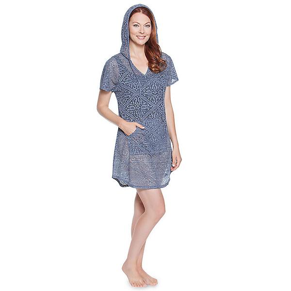 Dotti Charming Crochet Hoodie Bathing Suit Cover Up, Denim, 600