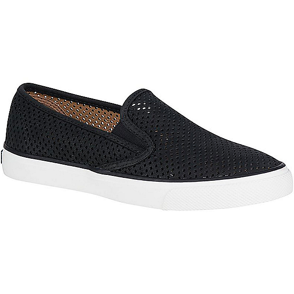 Sperry Seaside Perforated Leather Womens Shoes, Black, 600
