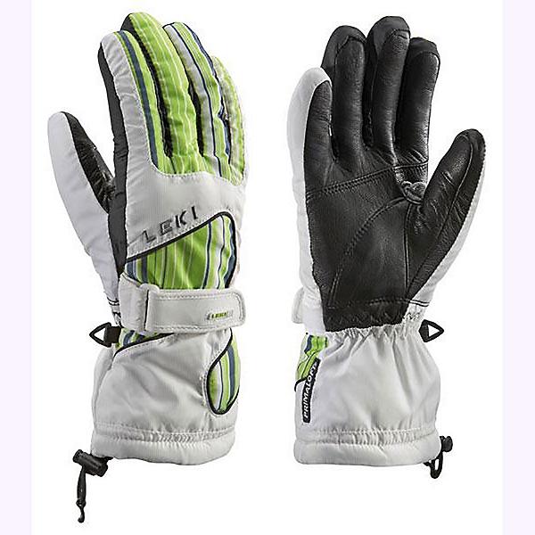 Leki Stripes S Womens Gloves, White-Green, 600