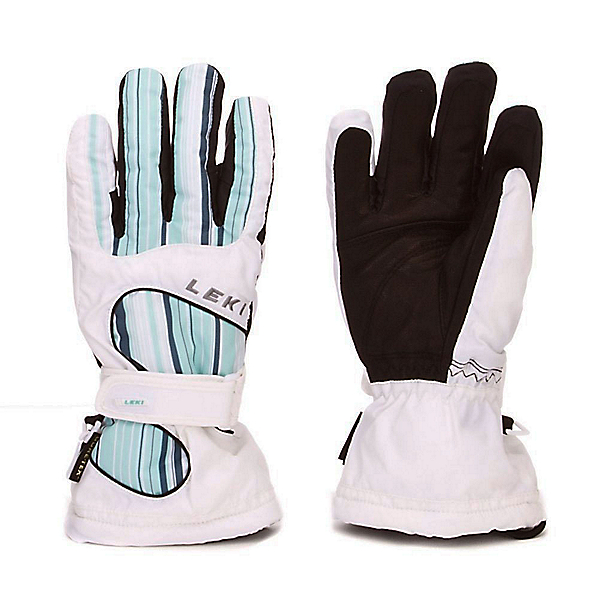 Leki Stripes S Womens Gloves, White-Blue, 600