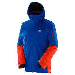 Salomon QST Guard Jacket Mens Insulated Ski Jacket, Blue Yonder-Vivid Orange, 256