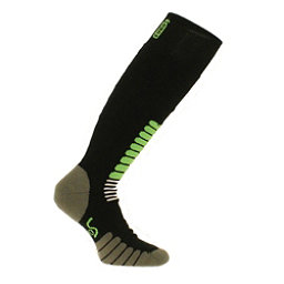 Euro Hockey Equipment New Eurosock Ski Zone Medium Weight Sock Black and Mint #1112, , 256